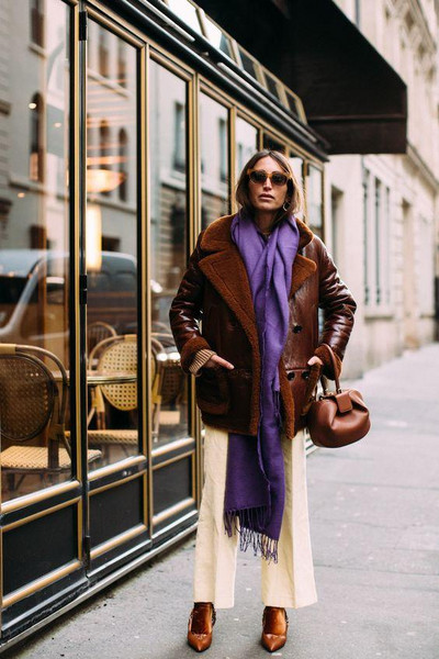the simply luxurious life blogger sweater scarf fall outfits leather jacket shearling jacket brown bag winter outfits