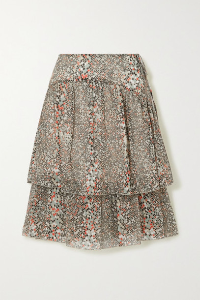 See By Chloé See By Chloé - Tiered Printed Cotton And Silk-blend Chiffon Skirt - Ecru