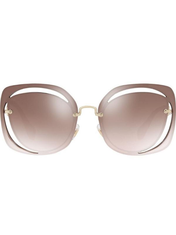 Miu Miu Eyewear cut out Scenique sunglasses in brown