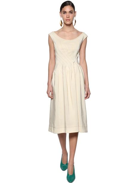 MARNI Viscose Woven Midi Dress W/buttoned Back in beige
