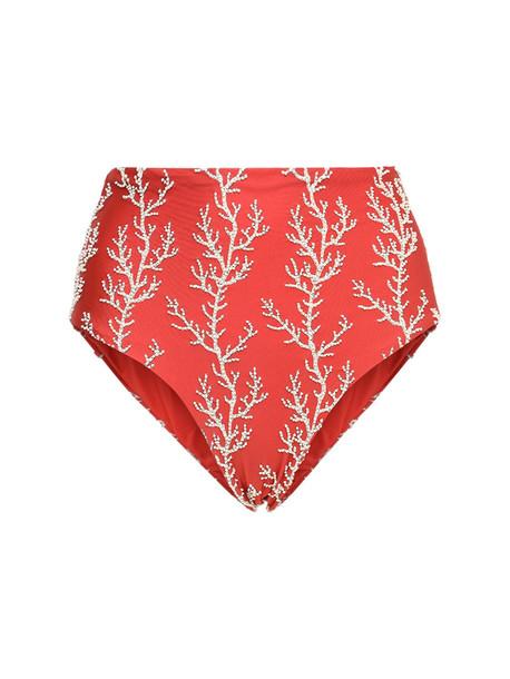 AGUA BY AGUA BENDITA Alicia Embroidered Bikini Bottoms in red / multi