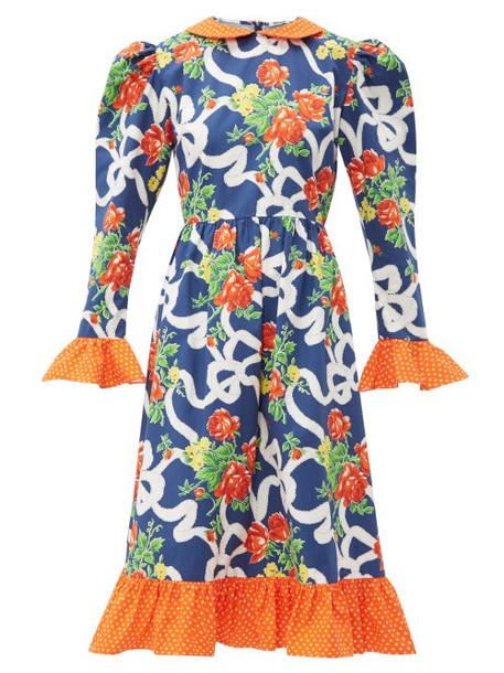 Batsheva - Prairie Floral Print Cotton Midi Dress - Womens - Navy Multi