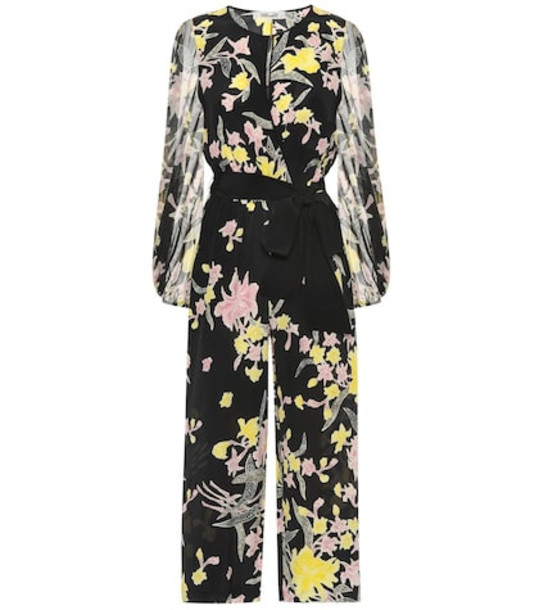 Diane von Furstenberg Delphi silk cropped jumpsuit in black