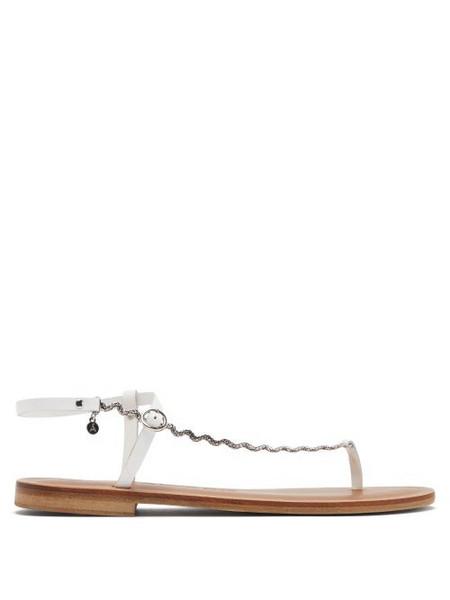 Álvaro Álvaro - Andreina Curved-chain Leather Sandals - Womens - White
