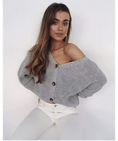 sweater,grey,fall sweater,cropped,buttons,knitted sweater