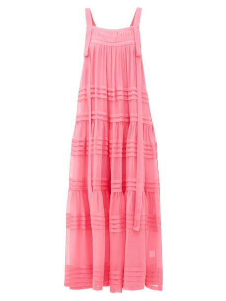 Lee Mathews - Kitty Tiered Silk-crepe Dress - Womens - Fuchsia