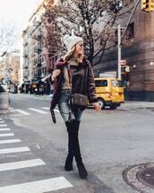 jacket,aviator jacket,over the knee boots,black boots,jeans,crossbody bag,ysl bag,turtleneck sweater,grey beanie