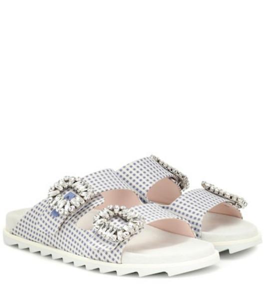 Roger Vivier Slidy Viv' gingham sandals in blue