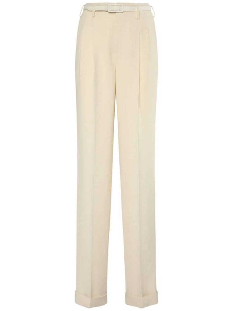 RALPH LAUREN COLLECTION Light Wool Crepe Stamford Pants in white