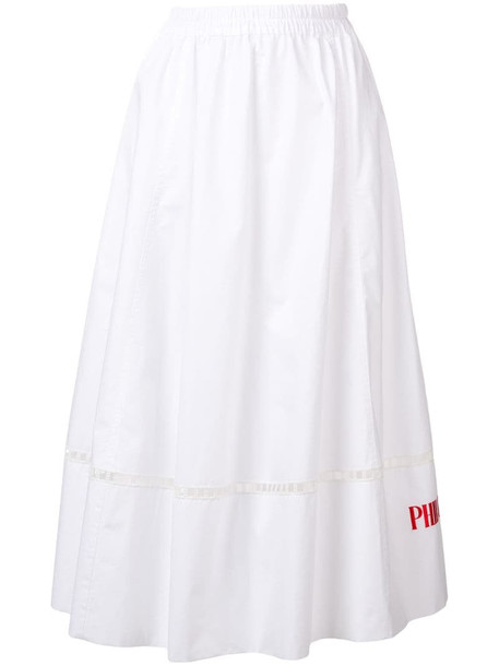 Philosophy Di Lorenzo Serafini logo embroidered maxi skirt in white