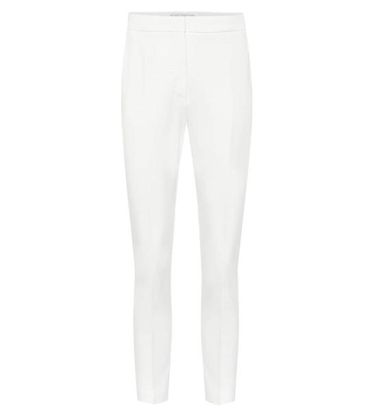 Max Mara Pegno high-rise slim jersey pants in white