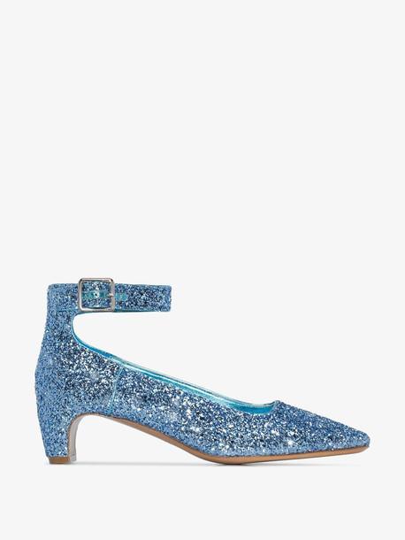 Maison Margiela blue glitter strap 50 pumps