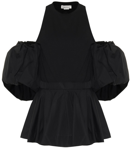 Alexander McQueen Off-shoulder cotton-poplin top in black