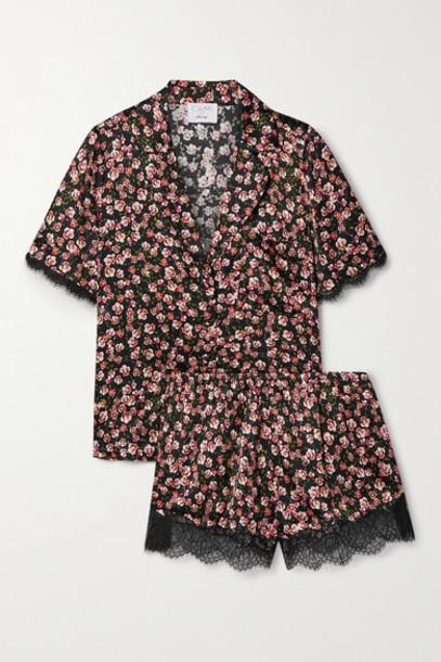 Cami NYC - The Sahar Lace-trimmed Floral-print Silk-blend Charmeuse Pajama Set - Black