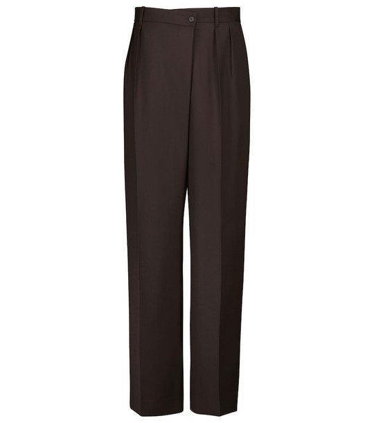 The Row Willow high-rise wide-leg wool pants in brown