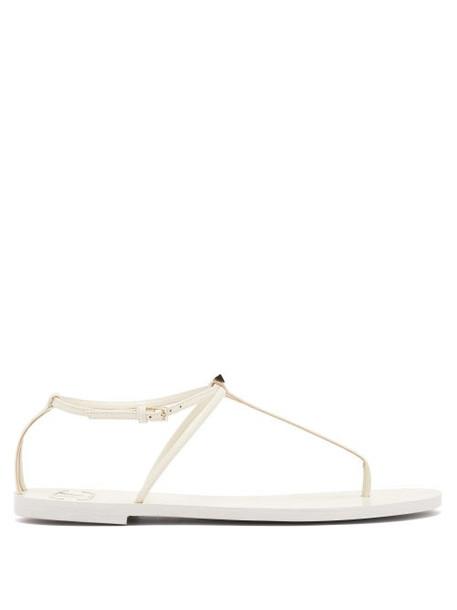 Valentino - Rockstud Flat Leather Sandals - Womens - White