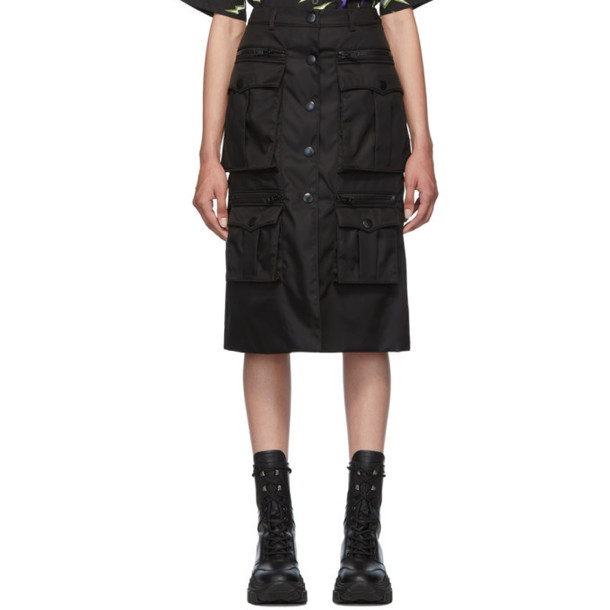 Prada Black Nylon Gabardine Pencil Skirt
