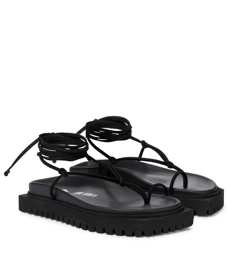 The Attico Lace-up leather thong sandals in black