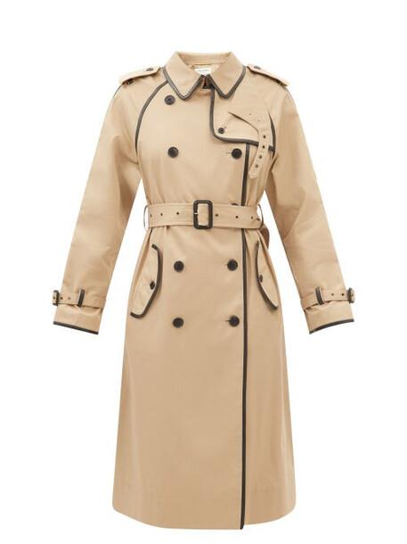 Saint Laurent - Leather-piping Gabardine Trench Coat - Womens - Beige