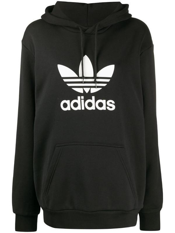 adidas Trefoil logo hoodie in black