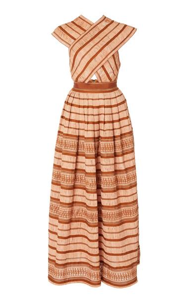 Ulla Johnson Anju Striped Raffia Maxi Dress Size: 0 in pink
