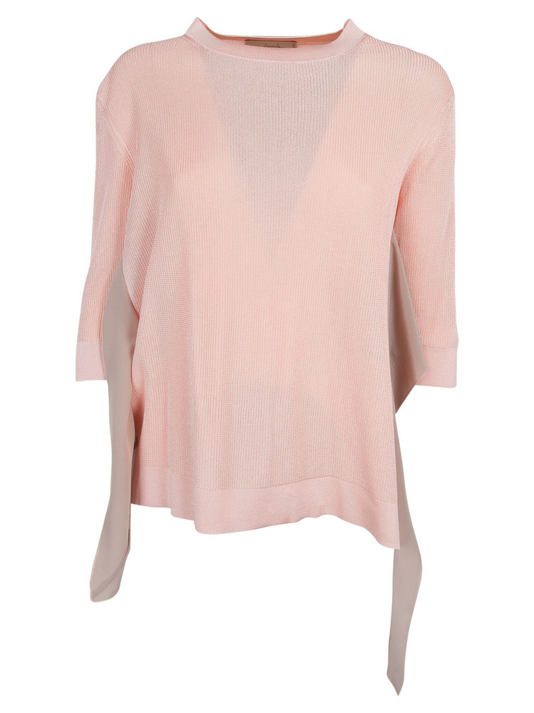 Maison Flaneur Maison Flâneur Ruffle Knitted Top in rose