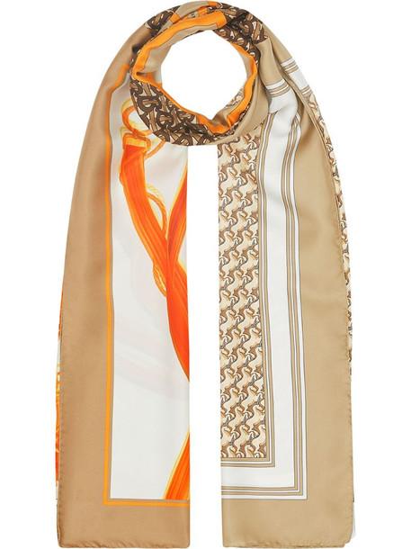Burberry Montage print silk scarf in neutrals