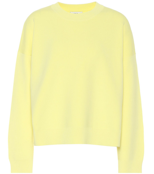 Vince Cotton-blend sweater in yellow