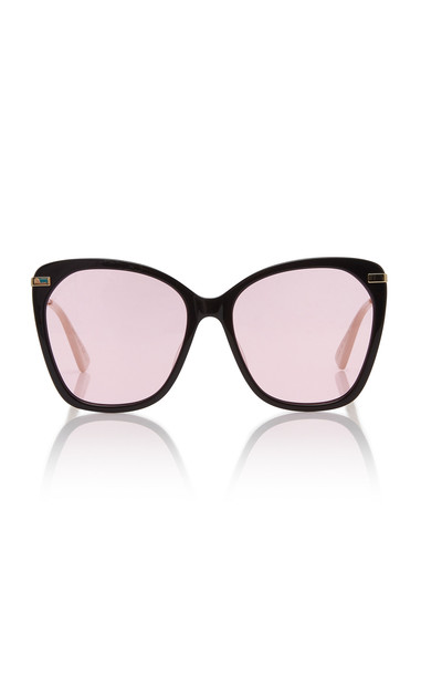 Gucci Web Cat-Eye Oversized Acetate Sunglasses in pink