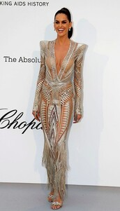 dress,glitter,glitter dress,embellished,embellished dress,izabel goulart,model off-duty,gown,red carpet dress,celebrity