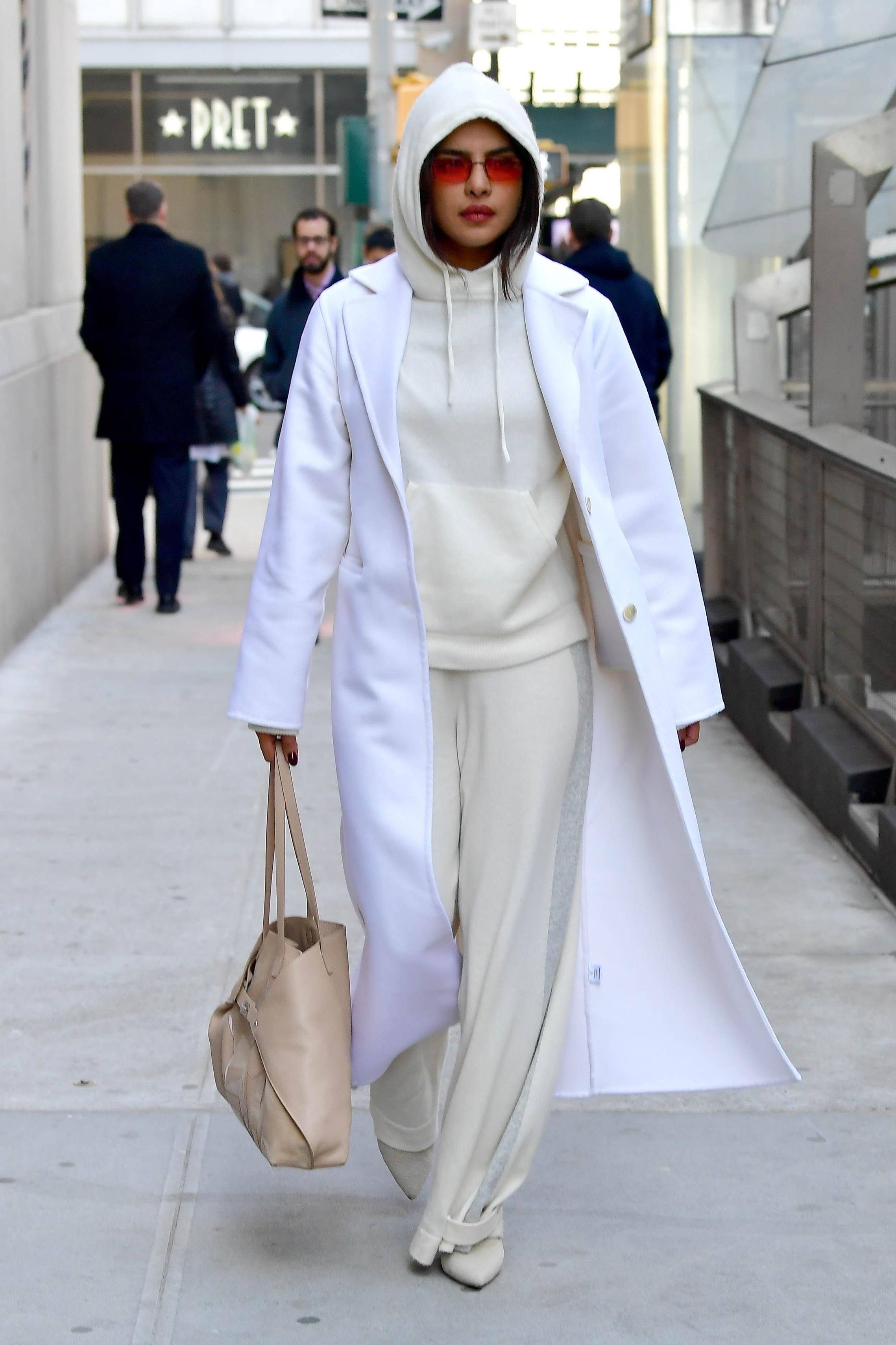 sweater hoodie beige priyanka chopra celebrity pants coat bag