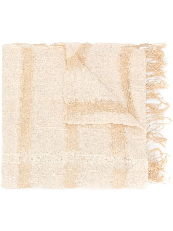 Issey Miyake Pre-Owned fringed scarf in neutrals