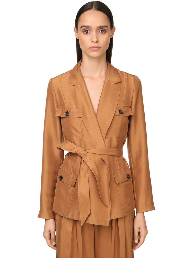 MAX MARA Belted Light Silk Shantung Field Jacket in brown