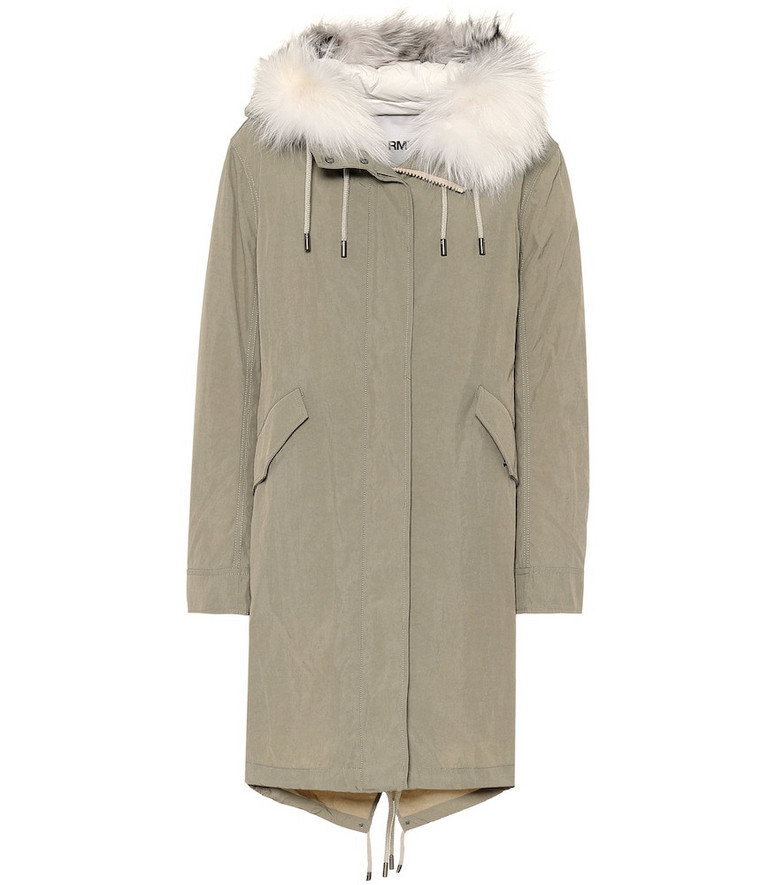 Yves Salomon Army fur-trimmed down parka in green