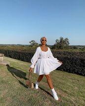dress,white dress,mini dress,long sleeve dress,white sneakers,bag