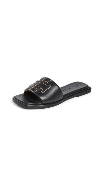 Tory Burch Double T Sport Slides in black / gold