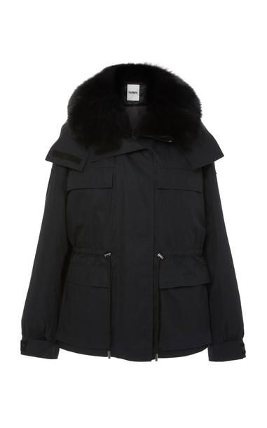 Yves Salomon Army Fur-Trimmed Shell Parka in black