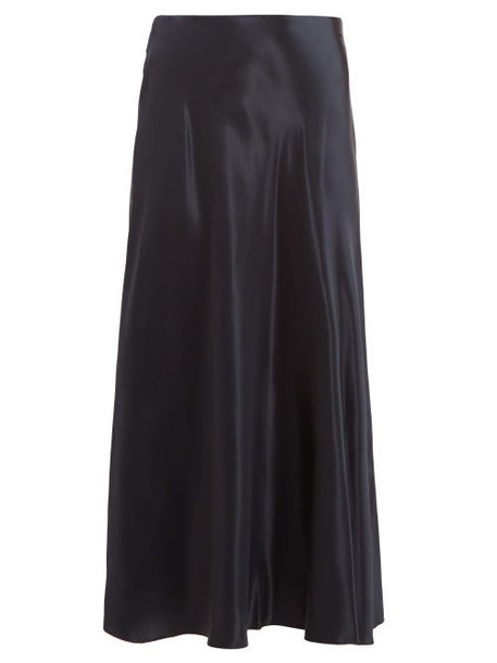 The Row - Medela Satin Midi Skirt - Womens - Navy