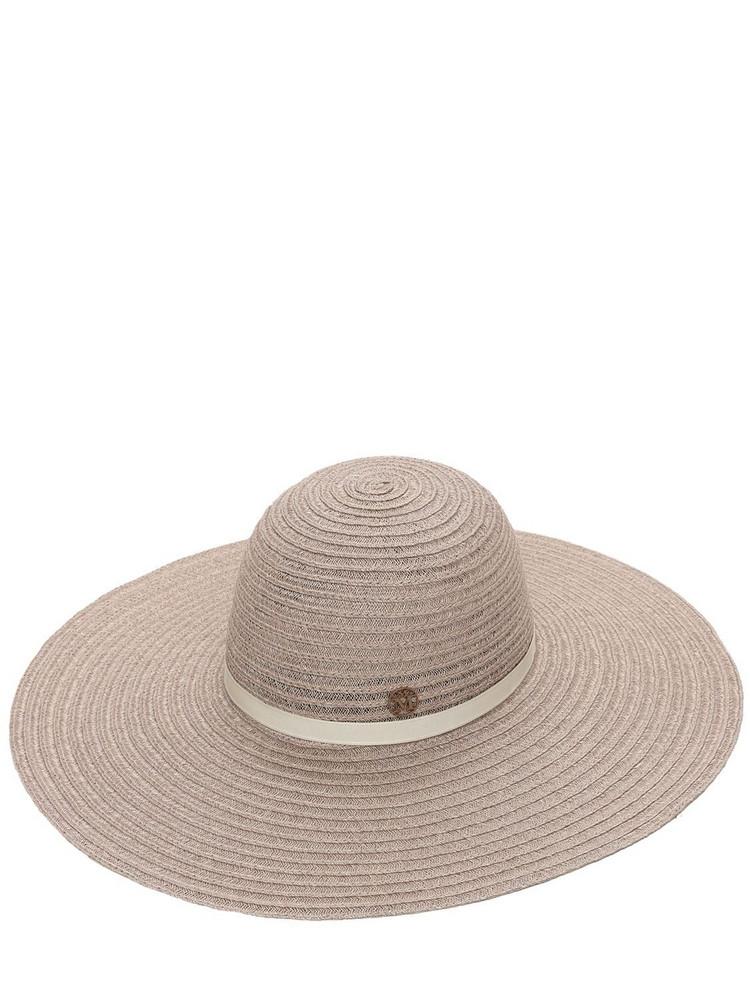 MAISON MICHEL Blanche Wide Trim Straw Hat in beige