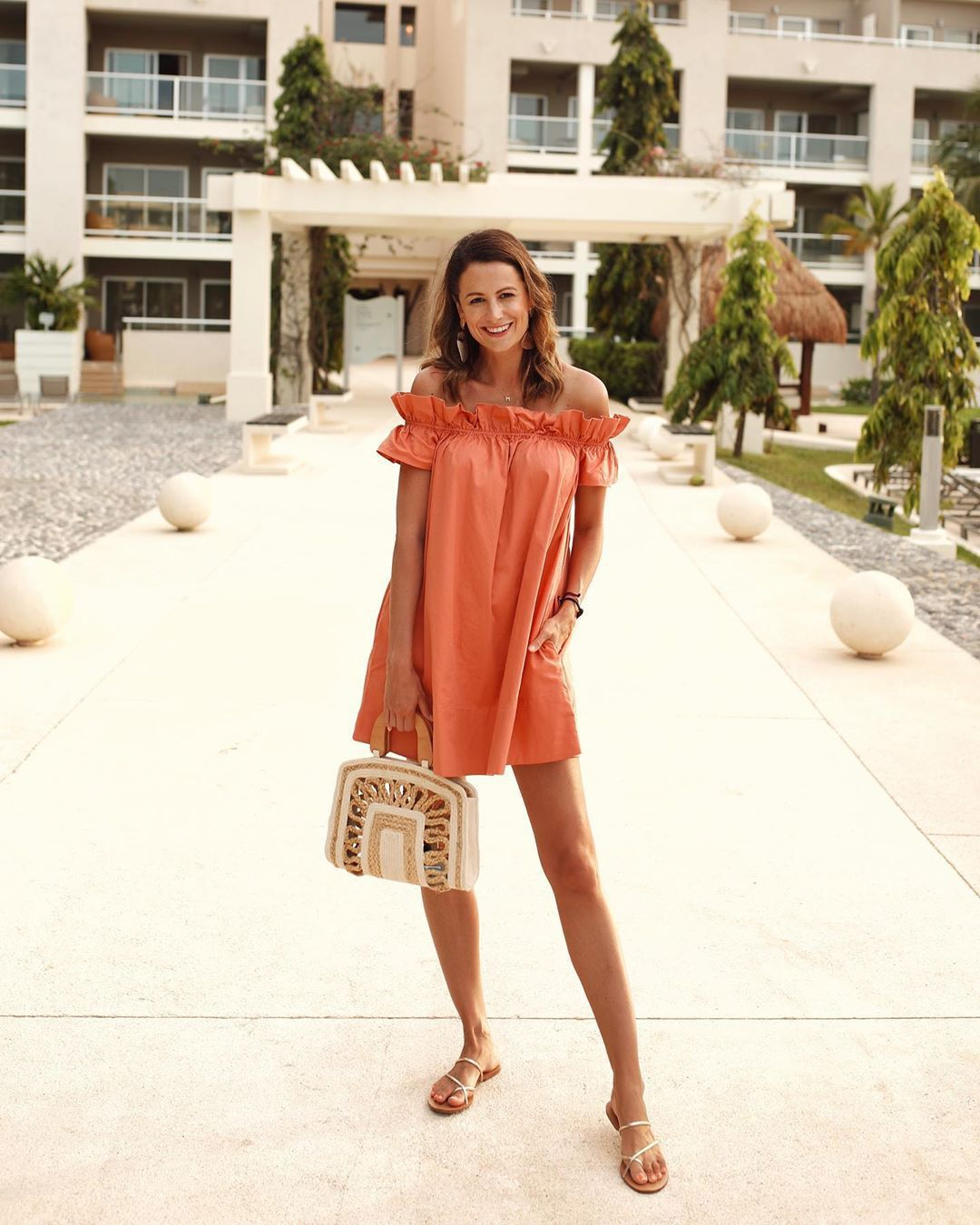 dress mini dress off the shoulder dress flat sandals handbag summer outfits