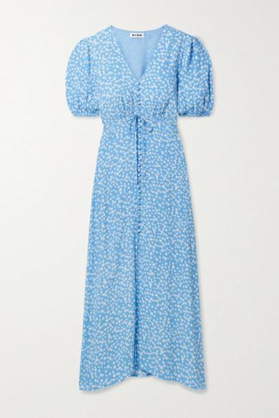 RIXO - Staci Floral-print Crepe Midi Dress - Blue