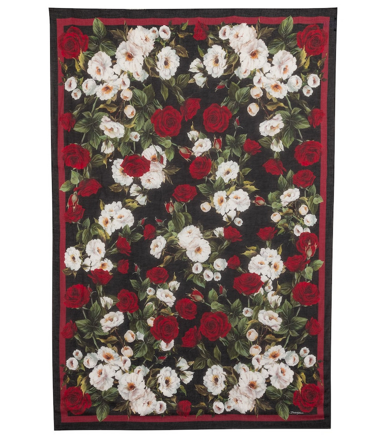 Dolce & Gabbana Floral modal and cashmere scarf in red