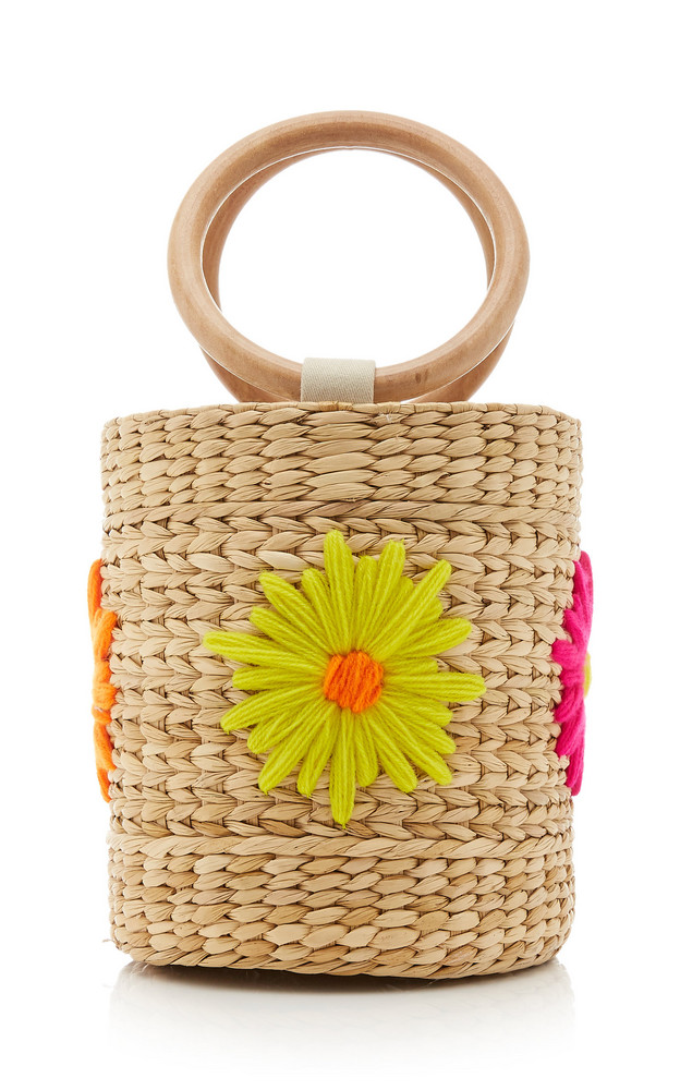 Poolside Floral-Embroidered Straw Bucket Bag in multi