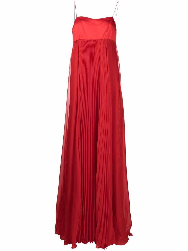 Pinko flared chiffon gown in red
