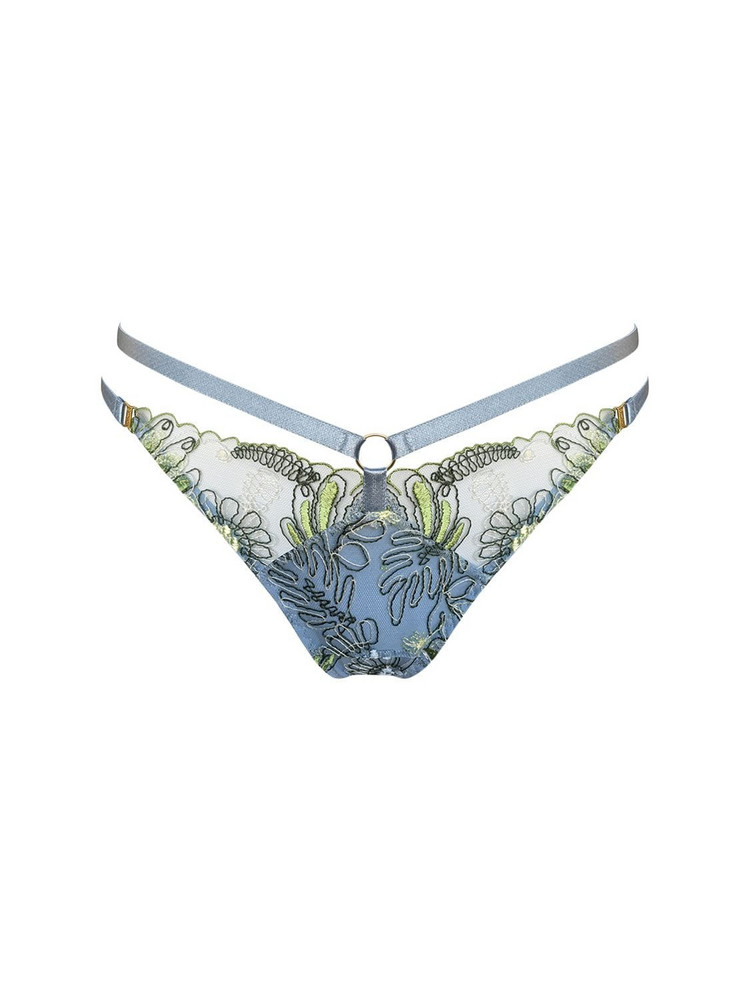 BORDELLE Botanica Embroidered Strap Thong in blue
