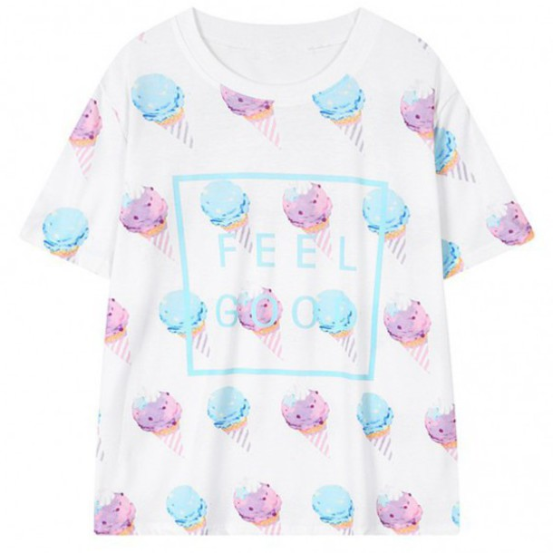 dress fashion style t-shirt ice cream cool summer pastel white trendy boogzel