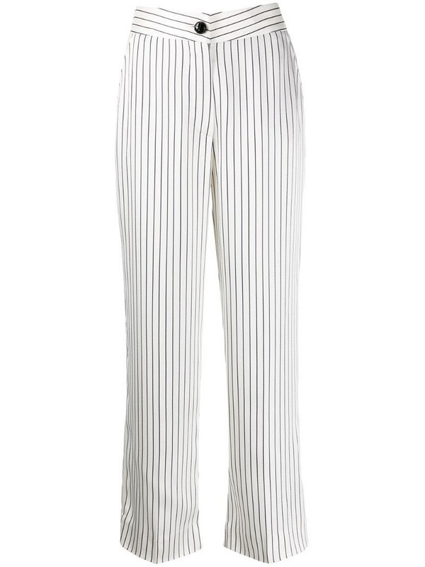 Blazé Milano straight fit striped pattern trousers in white