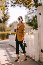 hallie daily,blogger,pants,shoes,jacket,jewels,sunglasses,top,bag,pumps,blazer,fall outfits