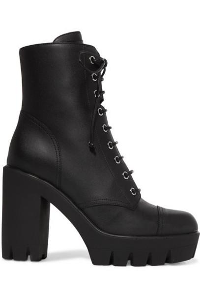 Giuseppe Zanotti - Leather Platform Ankle Boots - Black