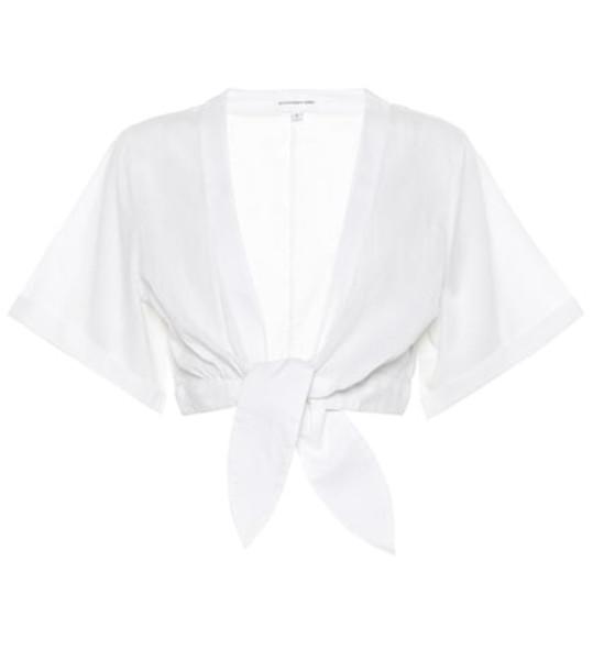 Alexandra Miro Sandy cotton crop top in white